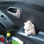 Marie in her seat in the car