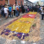 Antigua - one of the carpets after the procession column went over it