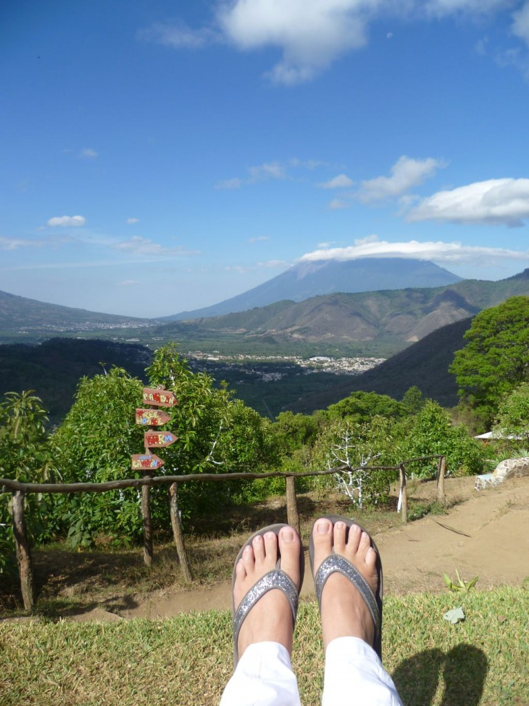 Earth Lodge 16: my view this morning onto the volcano