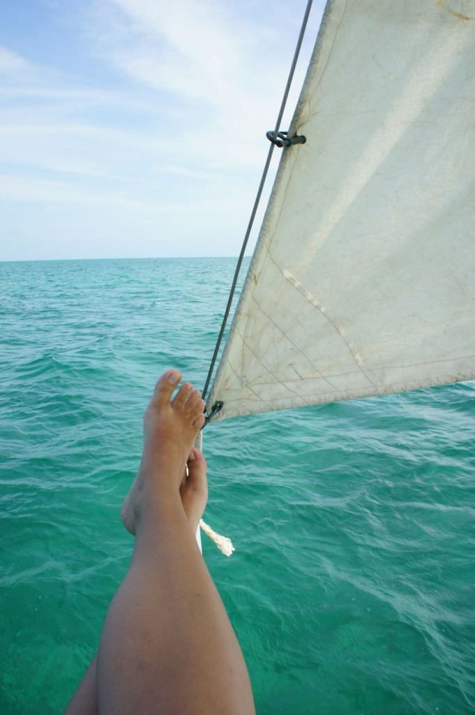 Sailing trip 3: my feet above the blue water
