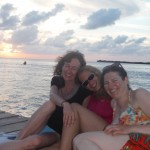 Caye Caulker 11: Cathryn, me and Corina (left to right) on the split