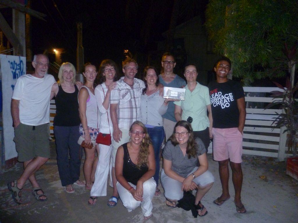 Caye Caulker 12: travel group after the farewell-dinner