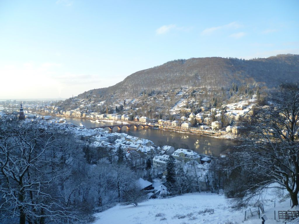 Heidelberg 4: view from the castle onto the historic center, the Neckar (river) and the philosophers trail; Winter 2010