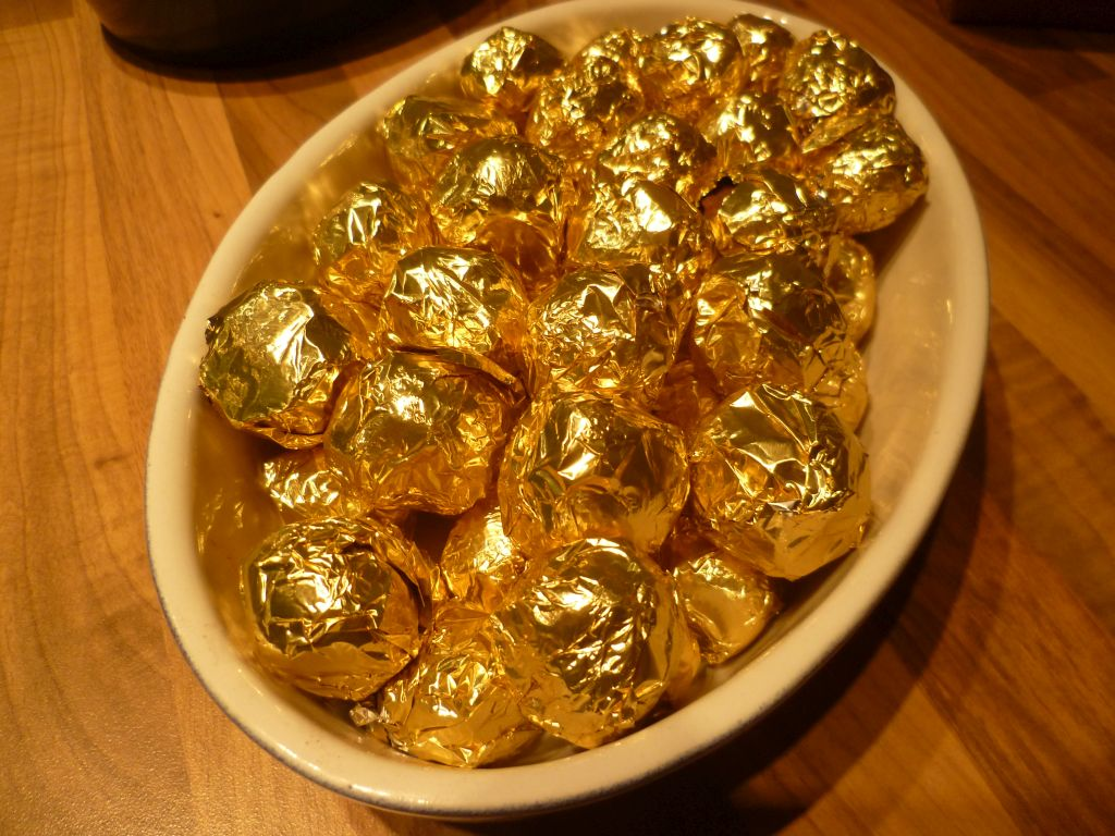 Vanilla truffles (wrapped in golden foil)