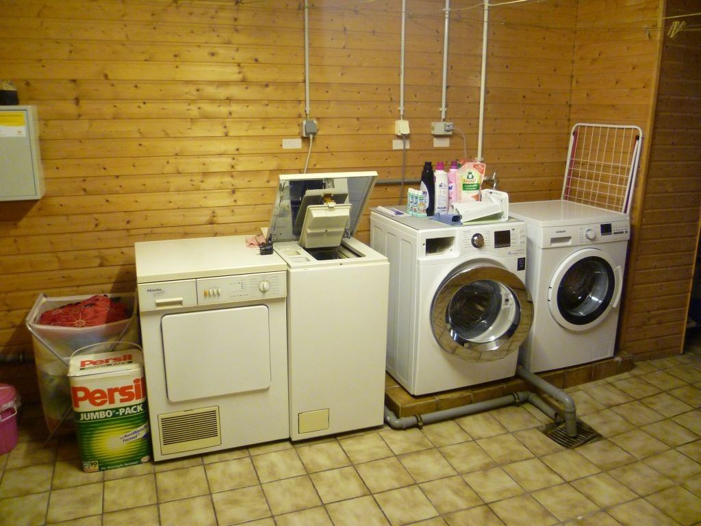 Washing room in the basement (with my washing machine on the very right)