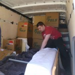 Bernie and myself inside the truck playing extreme-tetris...