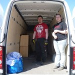Moving day: Bernie and Sarah (left to right) inside the truck
