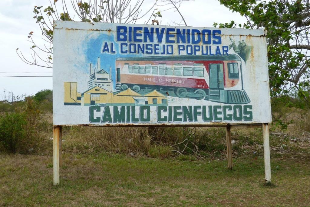 Willkommensschild von Camilo Cienfuegos